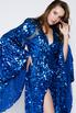 Платье-кимоно в пол из пайеток цвета электрик в прокат и аренду в Киеве. Фото 2