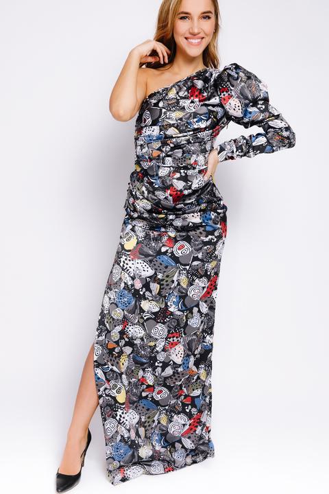 Шелковое принтованное ассиметричное платье с рукавом буф
