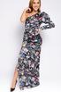 Шелковое принтованное ассиметричное платье с рукавом буф в прокат и аренду в Киеве. Фото 1