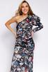 Шелковое принтованное ассиметричное платье с рукавом буф в прокат и аренду в Киеве. Фото 3