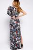 Шелковое принтованное ассиметричное платье с рукавом буф в прокат и аренду в Киеве. Фото 6
