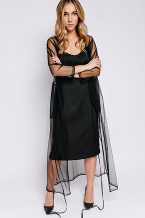 Плаття на запах з чорної сітки розшите бісером в прокат и oренду в Киiвi. Фото 1