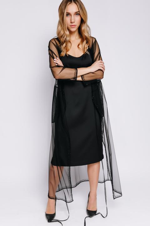 Платье на запах из чёрной сетки расшитой бисером c