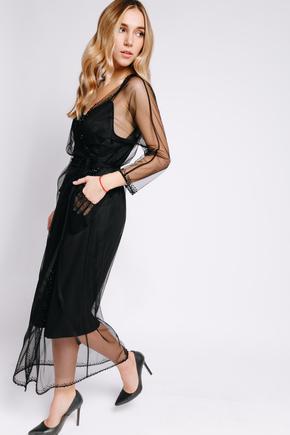 Плаття на запах з чорної сітки розшите бісером в прокат и oренду в Киiвi. Фото 2