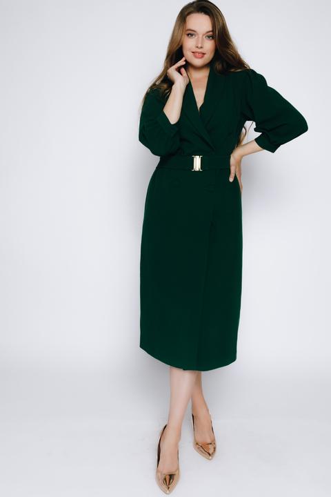 Темно-зеленое платье на запах миди из шерсти