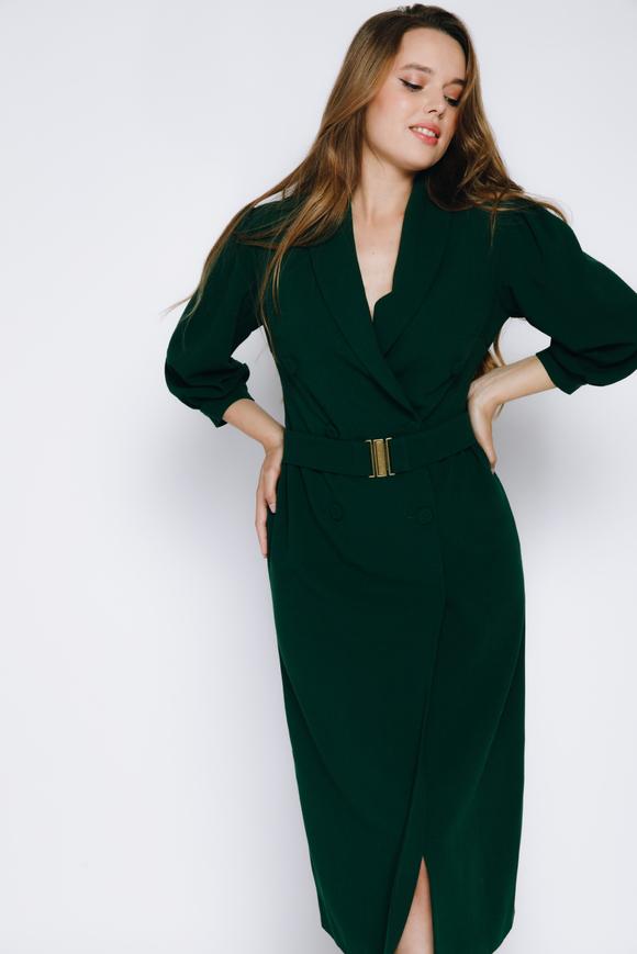 Темно-зеленое платье на запах миди из шерсти в прокат и аренду в Киеве. Фото 2