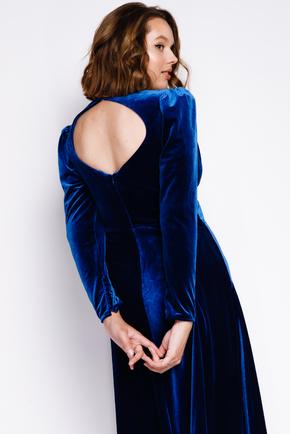 Оксамитове плаття кольору електрик з відкритою спиною в прокат и oренду в Киiвi. Фото 2
