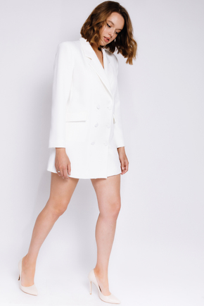 Біле плаття-піджак з довгим рукавом в прокат и oренду в Киiвi. Фото 2