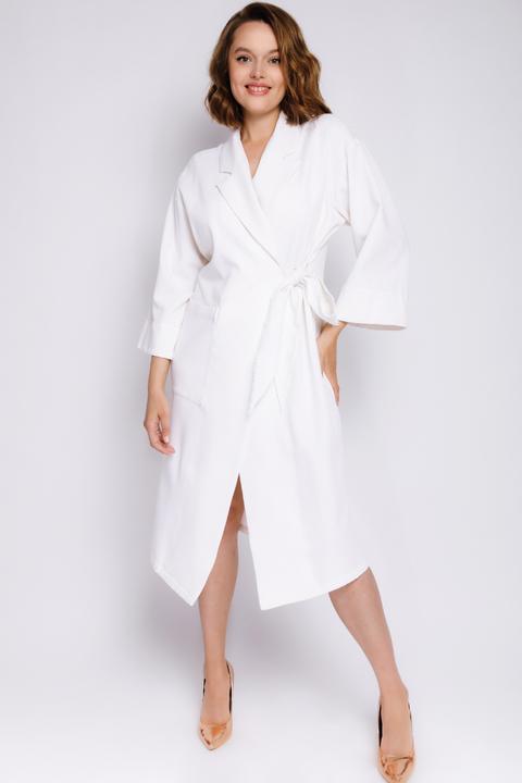 Платье-кимоно миди с длинным рукавом молочного цвета