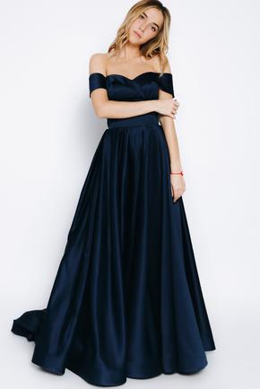 Темно-синя сукня в підлогу зі шлейфом в прокат и oренду в Киiвi. Фото 1