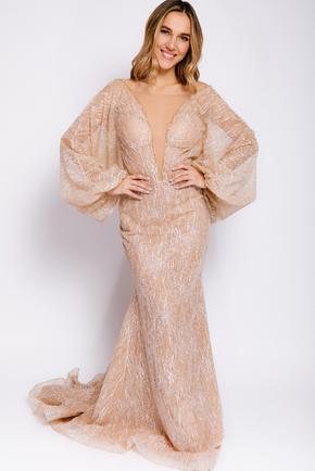 Золоте плаття з люрексу з довгим рукавом і глибоким вирізом в прокат и oренду в Киiвi. Фото 2
