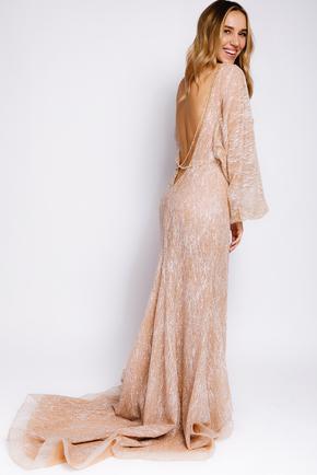 Золоте плаття з люрексу з довгим рукавом і глибоким вирізом в прокат и oренду в Киiвi. Фото 1