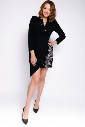 Плаття-смокінг з відрізною талією, рукавом і паєтками чорного кольору в прокат и oренду в Киiвi. Фото 1
