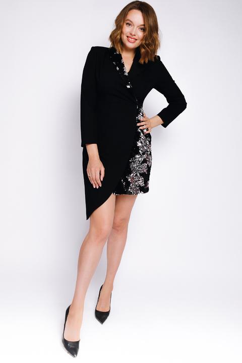 Платье-смокинг с отрезной талией, рукавом и пайетками черного цвета