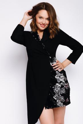 Плаття-смокінг з відрізною талією, рукавом і паєтками чорного кольору в прокат и oренду в Киiвi. Фото 2