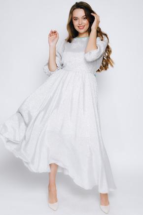 Срібне плаття міді з люрексу з довгим рукавом в прокат и oренду в Киiвi. Фото 2