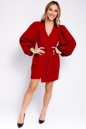Плаття на запах міні з об'ємним рукавами червоного кольору в прокат и oренду в Киiвi. Фото 2