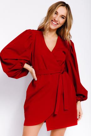 Плаття на запах міні з об'ємним рукавами червоного кольору в прокат и oренду в Киiвi. Фото 1