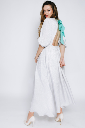 Срібне плаття міді з люрексу з довгим рукавом в прокат и oренду в Киiвi. Фото 1
