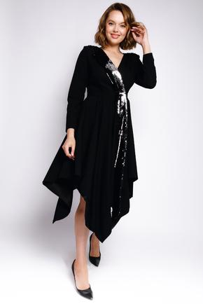Плаття на запах з асиметричними низом, паєтками і довгим рукавом в прокат и oренду в Киiвi. Фото 1
