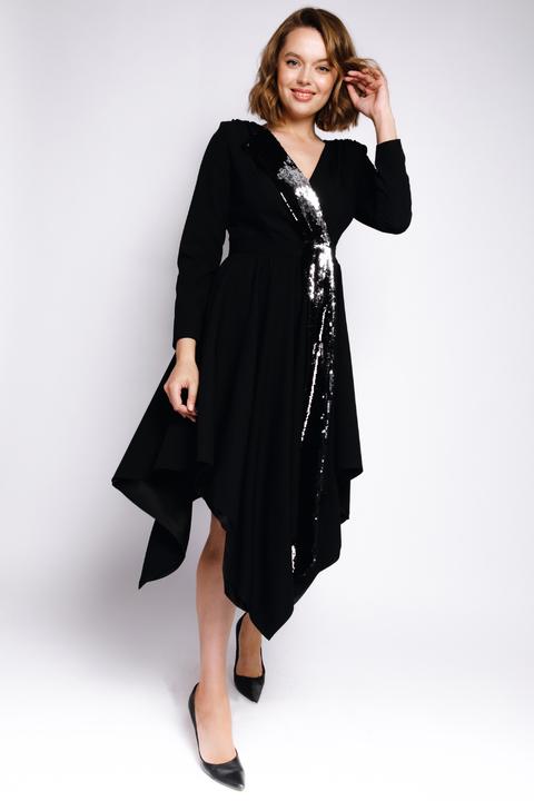 Платье на запах с асиметричным низом, пайетками и длинным рукавом