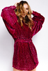Платье мини с обьемными рукавами из пайеток малинового цвета в прокат и аренду в Киеве. Фото 6