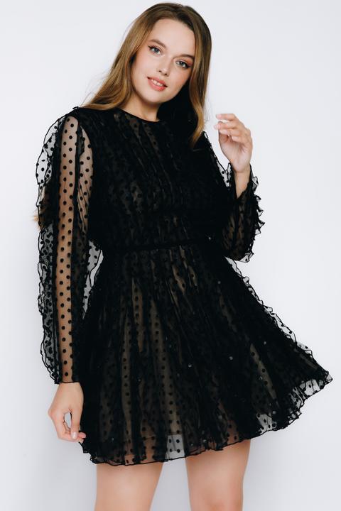 Черное платье-мини в горох