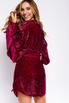 Платье мини с обьемными рукавами из пайеток малинового цвета в прокат и аренду в Киеве. Фото 3