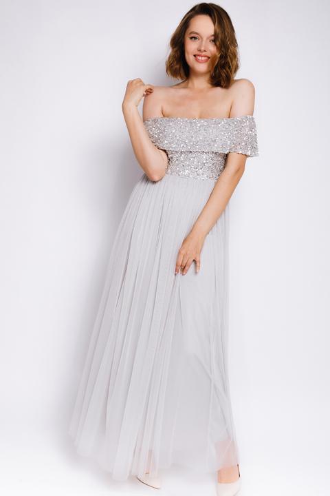 Серое платье макси со спущенными плечами