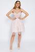 Нежно-розовое пышное платье мини расшитое цветами в прокат и аренду в Киеве. Фото 3