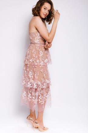 Бежева сукня міді з вишивкою з паєток в прокат и oренду в Киiвi. Фото 2