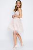 Нежно-розовое пышное платье мини расшитое цветами в прокат и аренду в Киеве. Фото 2