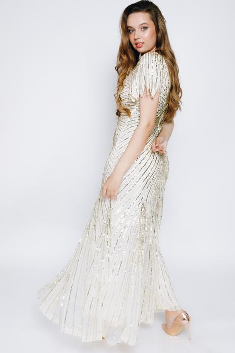 Молочное платье макси расшитое золотыми пайетками