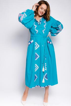 Бірюзова вишиванка довжини міді з фіолетовою вишивкою в прокат и oренду в Киiвi. Фото 2