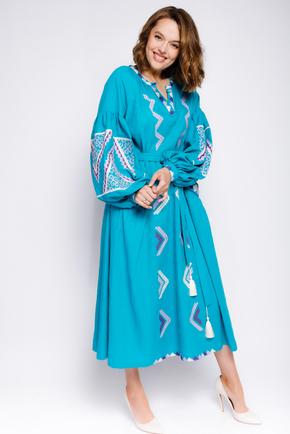 Бірюзова вишиванка довжини міді з фіолетовою вишивкою в прокат и oренду в Киiвi. Фото 1