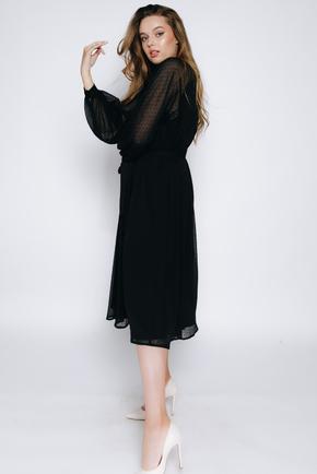 Чорне шифонове плаття в горох з довгим рукавом в прокат и oренду в Киiвi. Фото 2