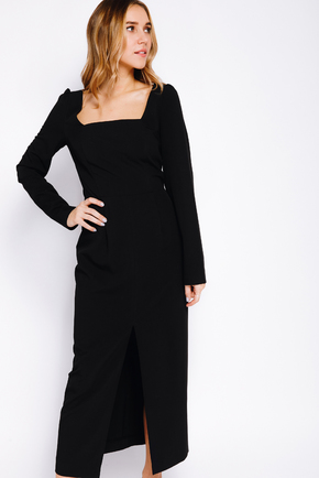 Чорна сукня-футляр з прямокутним вирізом і довгим рукавом в прокат и oренду в Киiвi. Фото 2