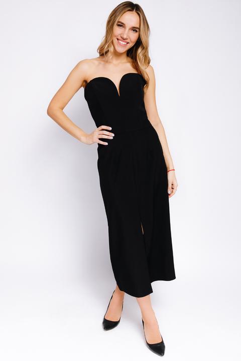Платье-корсет длины  миди черного цвета с разрезом