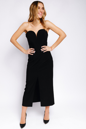 Плаття-корсет довжини міді чорного кольору з розрізом в прокат и oренду в Киiвi. Фото 2