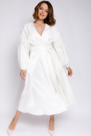 Шовкова сукня-халат з пір'ям на рукавах довжини міді в прокат и oренду в Киiвi. Фото 2