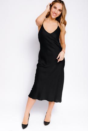 Шовкова сукня-комбінація міді чорного кольору в прокат и oренду в Киiвi. Фото 2