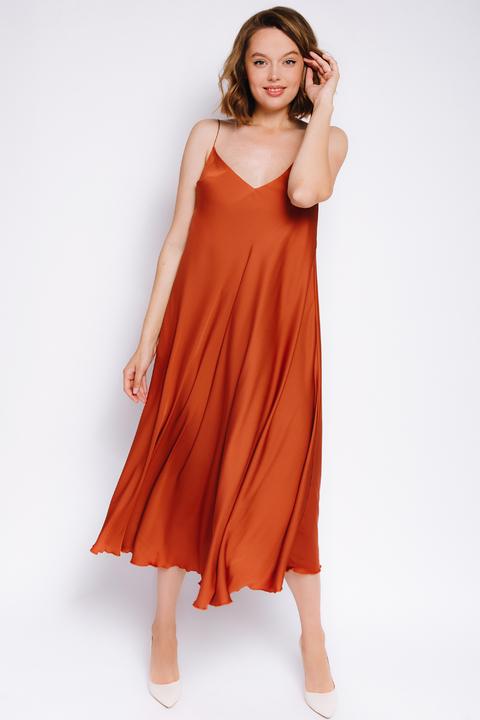 Шелковое платье-комбинация терракотового цвета
