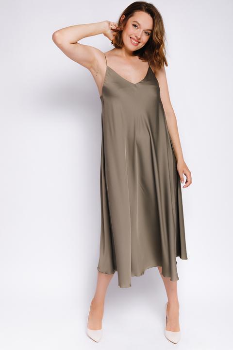 Шелковое платье-комбинация миди цвета хаки