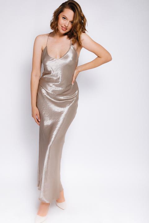 Шелковое длинное платье-комбинация оливкового цвета
