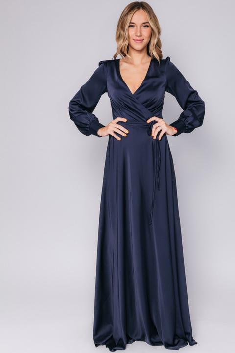 Темно- синее платье в пол с длинным рукавом