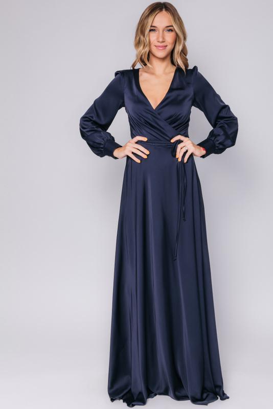 Темно- синее платье в пол с длинным рукавом в прокат и аренду в Киеве, Одессе, Харькове. Фото 1