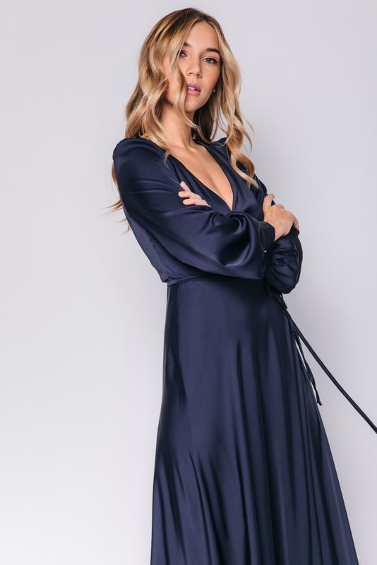 Темно- синее платье в пол с длинным рукавом в прокат и аренду в Киеве, Одессе, Харькове. Фото 2