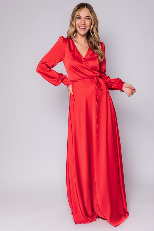 Красное платье в пол с длинным рукавом в прокат и аренду в Киеве, Одессе, Харькове. Фото 1