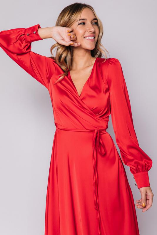 Красное платье в пол с длинным рукавом в прокат и аренду в Киеве, Одессе, Харькове. Фото 2