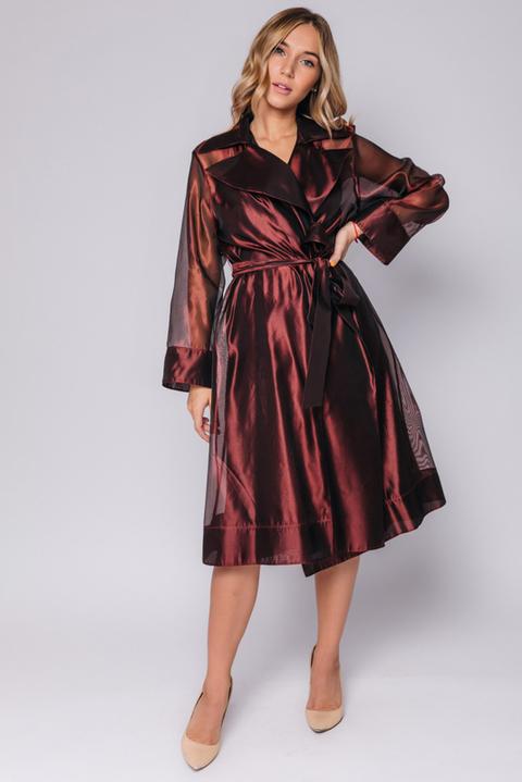 Платье миди шоколадного оттенка с тренчем из органзы